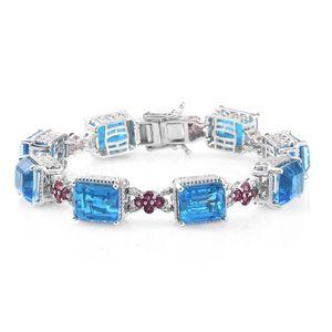 Caribbean Quartz, Multi Gemstone Platinum Over Sterling Silver Bracelet (7.25 In) TGW 48.49 cts.