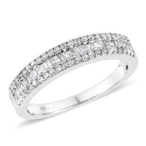 Diamond Platinum Over Sterling Silver Ring (Size 7.0) TDiaWt 0.50 cts, TGW 0.50 cts.