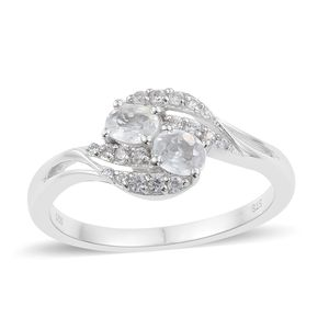Natural White Zircon Platinum Over Sterling Silver Fancy Bypass Ring (Size 7.0) TGW 1.32 cts.