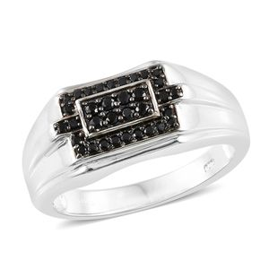 KARIS Collection - Thai Black Spinel Platinum Bond Brass Men's Signet Ring (Size 10.0) TGW 0.64 cts.