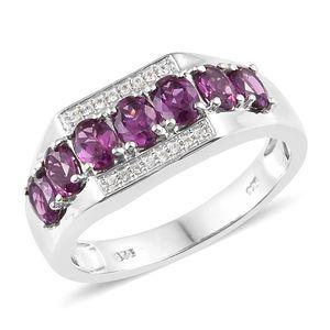 Purple Garnet, Cambodian Zircon Platinum Over Sterling Silver Ring (Size 11.0) TGW 2.76 cts.