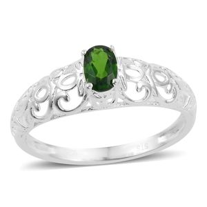 Russian Diopside Sterling Silver Openwork Ring (Size 7.0) TGW 0.50 cts.