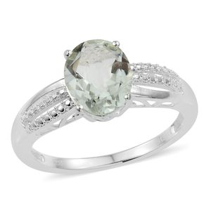 Green Amethyst Sterling Silver Split Ring (Size 7.0) TGW 2.45 cts.