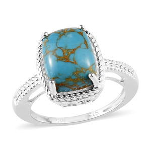 Mojave Blue Turquoise Sterling Silver Ring (Size 7.0) TGW 3.00 cts.