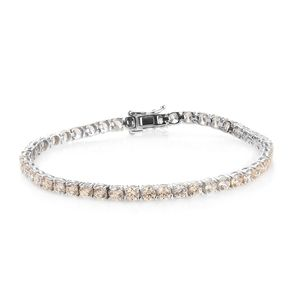 Deepak's Dazzling Deals J Francis - Platinum Over Sterling Silver Bracelet (8.00 In) Made with SWAROVSKI Champagne ZIRCONIA TGW 19.75 cts.