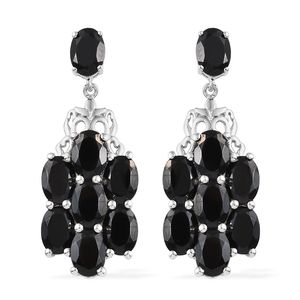 Thai Black Spinel Platinum Over Sterling Silver Earrings TGW 15.60 cts.