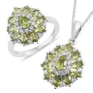 Hebei Peridot, Cambodian Zircon Platinum Over Sterling Silver Ring (Size 8) and Pendant With Chain (20 in) TGW 6.65 cts.