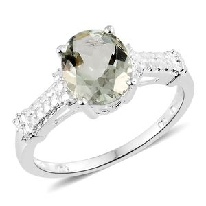 Green Amethyst Sterling Silver Solitaire Ring (Size 6.0) TGW 2.40 cts.