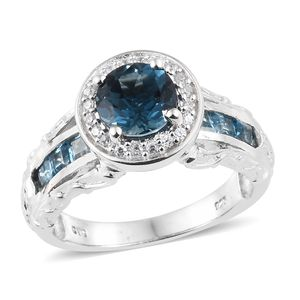 Dan's Collector Deal London Blue Topaz, Multi Gemstone Platinum Over Sterling Silver Bridge Ring (Size 10.0) TGW 4.25 cts.