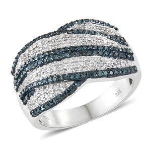 Diamond, Blue Diamond (IR) Blue Rodium & Platinum Over Sterling Silver Ring (Size 10.0) TDiaWt 1.03 cts, TGW 1.03 cts.