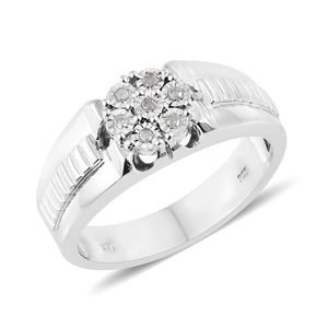 Diamond Platinum Over Sterling Silver Men's Ring (Size 11.0) TDiaWt 0.10 cts, TGW 0.10 cts.