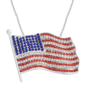 Simulated Multi Color Gemstones Silvertone USA Flag Brooch/Pendant With Stainless Steel Chain (20 in)