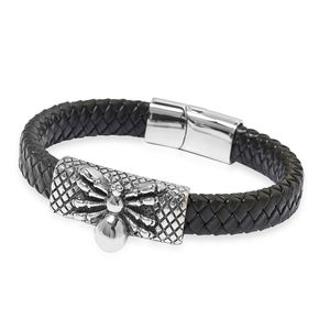 For Halloween Genuine Leather & Black Oxidized Stainless Steel Spider Bracelet (8.50 In)