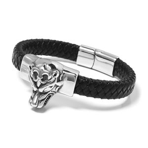 For Halloween Genuine Leather & Black Oxidized Stainless Steel Tiger Bracelet (8.50 In)