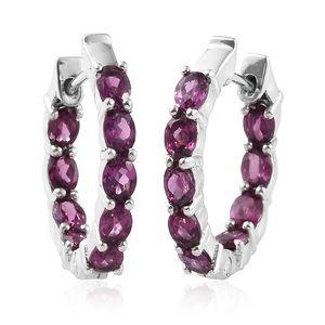 Purple Garnet Platinum Over Sterling Silver Hoop Earrings TGW 2.88 cts.