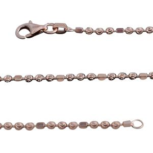 14K RG Over Sterling Silver Diamond Cut Bead Chain (18 in)