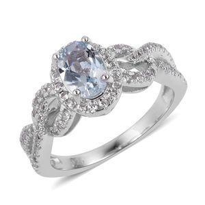 Espirito Santo Aquamarine, White Zircon Sterling Silver Ring (Size 8.0) TGW 1.31 cts.