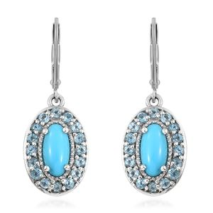 Arizona Sleeping Beauty Turquoise, Electric Blue Topaz Platinum Over Sterling Silver Earrings TGW 3.64 cts.