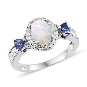 Customer Appreciation Day Ethiopian Welo Opal, Multi Gemstone Platinum Over Sterling Silver Ring (Size 10.0) TGW 2.00 cts.