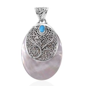 Bali Legacy Collection Mother of Pearl, Arizona Sleeping Beauty Turquoise Sterling Silver Pendant without Chain TGW 0.44 cts.