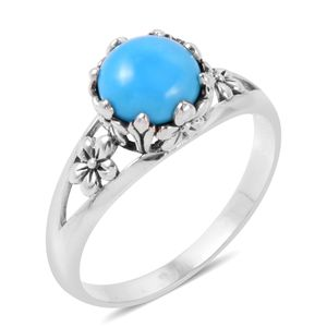 Bali Legacy Collection Arizona Sleeping Beauty Turquoise Sterling Silver Floral Solitaire Ring (Size 6.0) TGW 1.64 cts.