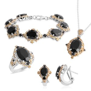 Thai Black Spinel 14K YG and Platinum Over Sterling Silver Bracelet (6.50 in), Earrings, Ring (Size 6) and Pendant With Chain (20.00 In) TGW 45.08 cts.