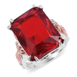 Simulated Ruby ION Plated RG and Stainless Steel Floral Ring (Size 8.0)