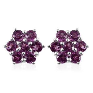 Purple Garnet Platinum Over Sterling Silver Earrings TGW 1.260 Cts. TGW 1.26 Cts.
