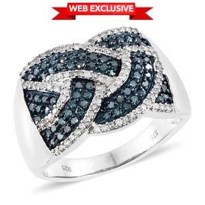Web TLV Blue Diamond (IR), Diamond Blue Rhodium & Platinum Over Sterling Silver Ring (Size 7.0) TDiaWt 1.00 cts, TGW 1.00 cts.