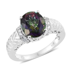 Northern Lights Mystic Topaz, Cambodian Zircon Platinum Over Sterling Silver Ring (Size 5.0) TGW 6.06 cts.