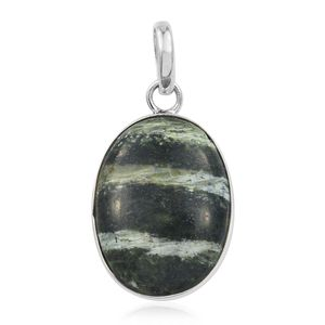 Artisan Crafted Green Zebra Jasper Sterling Silver Pendant without Chain TGW 9.56 cts.