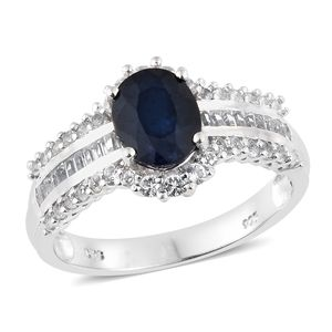 Madagascar Blue Sapphire, White Topaz Platinum Over Sterling Silver Ring (Size 7.0) TGW 3.26 cts.