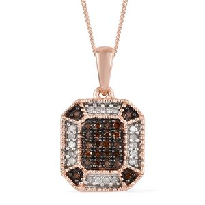 Red Diamond (IR), Diamond Vermeil RG Over Sterling Silver Pendant With Chain (20 in) TDiaWt 0.25 cts, TGW 0.25 cts.