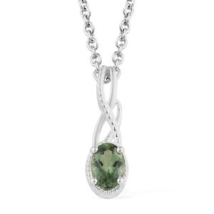 Natural Green Apatite Sterling Silver Pendant With Stainless Steel Chain (20 in) TGW 0.85 cts.