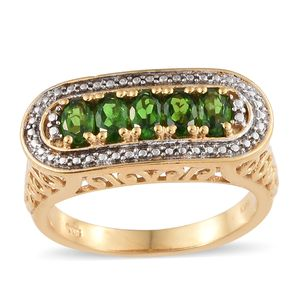 KARIS Collection - Russian Diopside ION Plated 18K YG Brass 5 Stone Openwork Ring (Size 7.0) TGW 1.15 cts.
