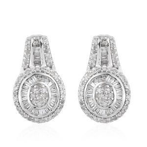 Diamond Platinum Over Sterling Silver Earrings TDiaWt 1.00 cts, TGW 1.00 cts.