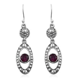 Artisan Crafted Orissa Rhodolite Garnet Sterling Silver Earrings TGW 1.40 cts.