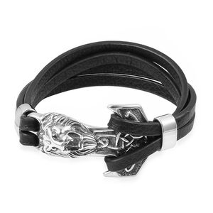 Microfiber Leather & Black Oxidized Doubled Dual Strand Stainless Steel Lion Head Bracelet (8.50 In)