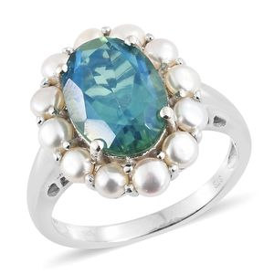 Peacock Quartz, Freshwater Pearl Platinum Over Sterling Silver Ring (Size 7.0) TGW 5.20 cts.