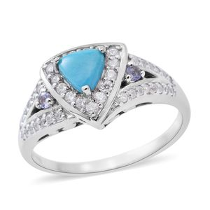 Arizona Sleeping Beauty Turquoise, Multi Gemstone Platinum Over Sterling Silver Ring (Size 7.0) TGW 1.40 cts.