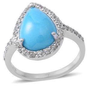 Arizona Sleeping Beauty Turquoise, White Zircon Sterling Silver Ring (Size 7.0) TGW 6.07 cts.