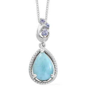 Larimar, Tanzanite Platinum Over Sterling Silver Pendant With Chain (20 in) TGW 2.18 cts.