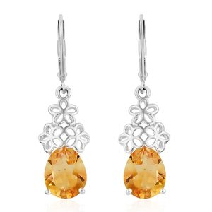 Brazilian Citrine Stainless Steel & Sterling Silver Lever Back Earrings TGW 2.90 cts.