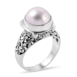 Bali Legacy Collection Mabe Pearl Sterling Silver Ring (Size 10.0)