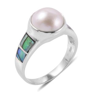 Bali Legacy Collection Mabe Pearl, Abalone Shell Sterling Silver Ring (Size 6.0)