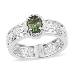 KARIS Collection - Natural Green Apatite Platinum Bond Brass Ring (Size 7.0) TGW 0.80 cts.