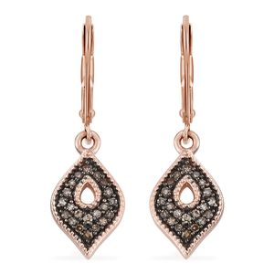 Natural Champagne Diamond Vermeil RG Over Sterling Silver Earrings TDiaWt 0.26 cts, TGW 0.26 cts.