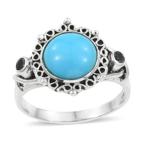 Artisan Crafted Arizona Sleeping Beauty Turquoise, Catalina Iolite Sterling Silver Ring (Size 8.0) TGW 4.49 cts.