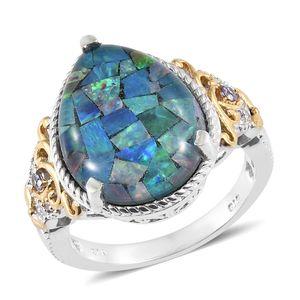 Australian Mosaic Opal, Multi Gemstone Vermeil YG & Platinum Over Sterling Silver Ring (Size 7.0) TGW 12.28 cts.