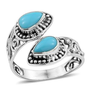 Artisan Crafted Arizona Sleeping Beauty Turquoise Sterling Silver Bypass Ring (Size 8.0) TGW 1.49 cts.